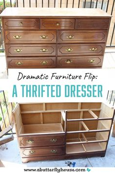 Complete tutorial of how I transformed a broken thrift store dresser into something beautiful and functional. #FurnitureFlip #BeforeandAfter Diy Furniture Flip, Thrift Store Furniture, Dream Furniture, Furniture Projects, Furniture Makeover, Dresser Bench, Diy Home Decor Projects, Garden Projects, Build A Frame