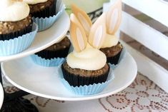 Bunny Eared Cupcakes from a Guess How Much I Love You Birthday Bunny Party via Kara's Party Ideas KarasPartyIdeas.com (38)