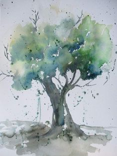 Tree Watercolor Painting, Acrylic Painting Flowers, Watercolor Painting Techniques, Watercolor Projects, Watercolor Landscape, Abstract Watercolor, Watercolor Flowers, Realistic Flower Drawing, Tree Art