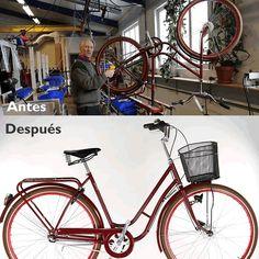 Fabricando una #pilen SP de barra baja en color rojo.El antes y después...    https://www.avantum.bike/pilen/bicicleta-clasica-de-paseo/pilen-sp-14-bicicleta-clasica-con-cubiertas-fat-frank.html    #biciclasica #avantumbikes #labiciurbana