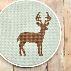 Deer Counted Cross Stitch Pattern. $4 This Etsy Seller has tons of CUTE modern cross stitch patterns!