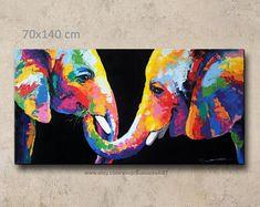 70 x 140 cm, Elephant Painting, wall art, wall decor,on canvas Colorful Elephant, Canvas Wall Decor, Abstract Art, Canvas Wall Arrangements