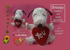 Snoopy cestería con papel periodico