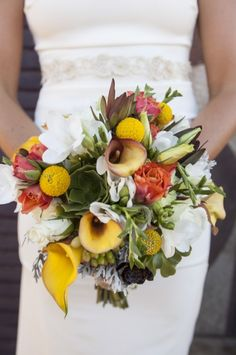Bright and rustic bridal bouquet. #bouquet #weddingflorals #weddingchicks ---> http://www.weddingchicks.com/2014/05/07/4-great-wedding-surprises-you-just-cant-miss/