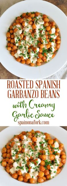 Roasted Spanish Garbanzo Beans with Creamy Garlic Sauce Recipe Going Vegetarian, Vegetarian Recipes, Healthy Recipes, Vegetarian Sandwiches, Vegetarian Breakfast, Vegetarian Dinners, Vegetarian Cooking, Tapas Recipes, Pea Recipes