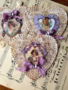 Lavender Doily Valentine by NoelleGarrettDesigns - they remind me of the ones I've made. My Sweet Valentine, My Funny Valentine, Valentine Day Crafts, Valentine Decorations, Valentine Heart, Happy Valentines Day, Kids Valentines, Victorian Valentines, Vintage Valentines