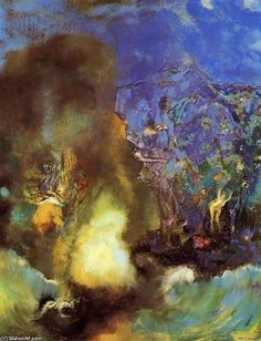 """Odilon Redon """"Roger and Angelica"""", pastel on paper, mounted on canvas"""