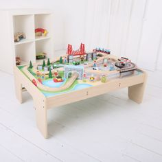 This extensive train set features a bustling city scene with 61 pieces including wooden high rise buildings, a heli-pad, bridges and includes a unique metro style train; all fitting within the tables decorative artwork. The table comes flat packed with easy assembly instructions. Suitable for children aged 3 years. Available APRIL: http://shop.bigjigstoys.co.uk/products/productdetail/City+Train+Set+%26+Table/part_number=BJT045/12465.0.4.3.1079580.0.0.0.0?pp=20&