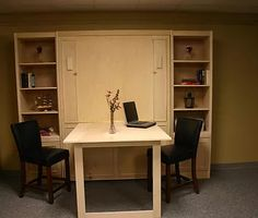 Murphy bed with a bar height desk