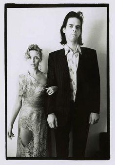 Nick Cave and Kylie Minogue b/w portrait 1995