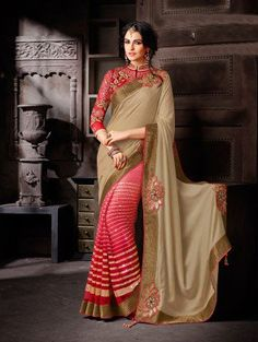 Cream and Pink Shimmer Georgette Saree with Sequins Work