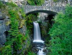 Stone Bridge Over Christine Falls Mural - Terry Donnelly Murals Your Way, Arch Bridge, Green Trees, Pacific Northwest, The Rock, Wall Decals, Waterfall, Canvas Prints, Outdoor Structures