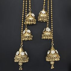 Antique Gold Tone Long Kashmiri Earrings @ Indiatrend For $24.99USD