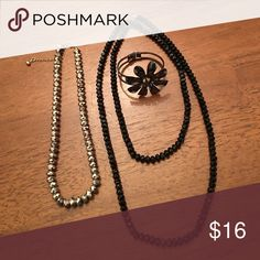 Jewelry Long black beaded necklace and short beaded necklace have lots of sparkle!  Gunmetal finish hinged flower bracelet. Three piece bundle. Jewelry