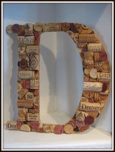 Custom Wine Cork Letter D by MyMamaMaria on Etsy Wine Cork Letters, Wine Cork Art, Diy Letters, Wine Corks, Cork Crafts, Diy Arts And Crafts, Crafts To Do, Wine Craft, Wine Bottle Crafts