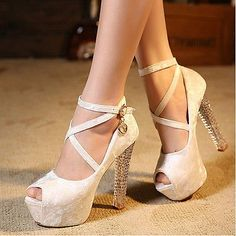 Womens Mary Jane Shoes Criss Cross Ankle Strap Chunky White Heels Platform 5