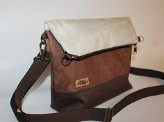 "Foldover bag""Latte"" 3 tone Brown faux leather tote cross body bag women's gift everyday bag"