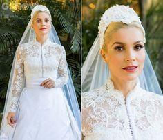 3 fotos do vestido de noiva inspirado na princesa Grace Kelly da Sandra na novela Eta Mundo Bom - Moda de Novela