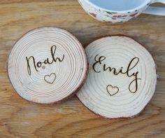 #woodencoasters #personalisedwoodencoasters #rusticcoasters #logslicecoasters #personalisedlogslice #woodenanniversary