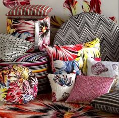 M for Missoni!  #fabrics #patterns #décor #designer #colors #Missoni fabric collection at Mavriki & Co. www.mavriki.gr