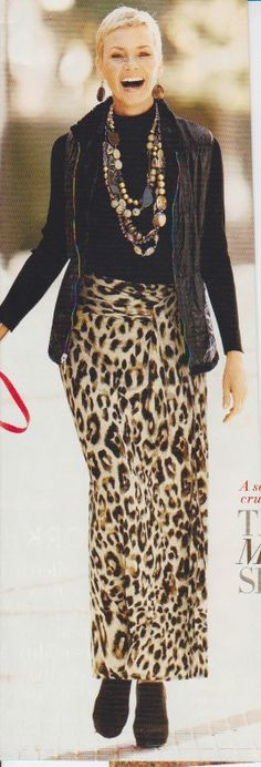 maxi skirt and leather jacket   very smart looking