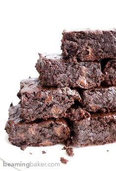 The BEST vegan brownies you've ever had: divinely rich, fudgy, and moist, bursting with chocolate flavor. http://BEAMINGBAKER.COM #Best #Vegan #Brownies