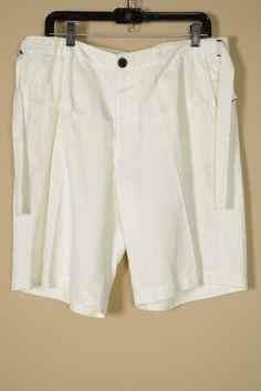 $475 Dries van Noten White Linen Cotton Shorts sz 52 | 36 New Slacks Dress Pants #DriesVanNoten #SinglePleat