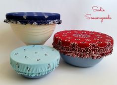 """Vintage Bandana Bowl Covers (Place bowl upside down on fabric. Cut 2"""" out from bowl. Zig-zag 1/4"""" elastic on while pulling on elastic to expand so it will fit snugly around bowl.)"""