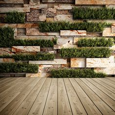 Interior of decorative stone wall with vertical gardens. Garden Wall Designs, Vertical Garden Design, Vertical Gardens, Decorative Stone Wall, Aquarium Garden, Stone Wall Design, Cinder Block Garden, Wall Exterior, Walled Garden