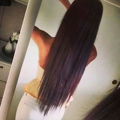 Long dark straight hair with v cut