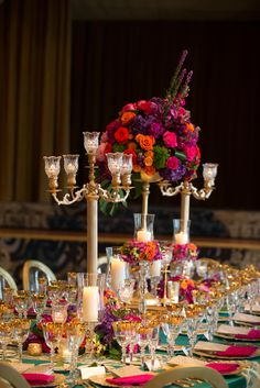 Special event decor featuring vibrant gold, teal and fuchsia colors and beautiful floral decor with gold candelabras. Reception Decorations, Event Decor, Table Decorations, Floral Wedding, Wedding Flowers, Gold Candelabra, Drake Hotel, Chicago Wedding, Floral Centerpieces