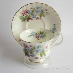 Free Shipping Royal Albert BOURTON Summertime Series Bone China Tea Cup and Saucer by LauriesFineChina on Etsy