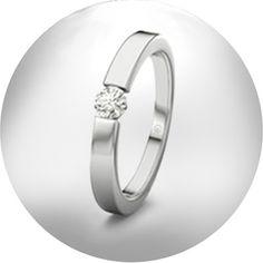 PROMOCIÓN:10 anillos de compromiso por 399 €. anillo de compromiso tipo solitario en oro blanco de 18 Kt, con diamante talla brillante.