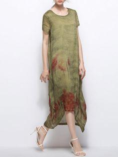 Green Abstract Short Sleeve Midi Dress - StyleWe.com