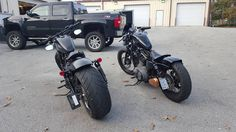 """Sportster bobbersviaJeff Davis""""It's a 250 tire, need the swing arm, chain kit with front off set sprocket, 13.5"""" rear shocks, 8.5"""" rear wheel, have to fab the rear fender, no one is making them for the wide tire sportsters"""" -Jeff Davis"""