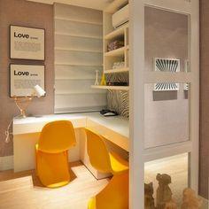 Home Office com cadeira Paton Amarelo