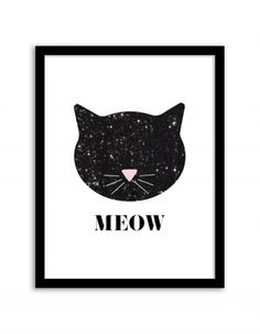 Free Printable Sequin Cat Art from @chicfetti - easy wall art DIY