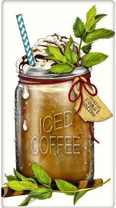 Refreshing Iced Coffee 100% Cotton Flour Sack Dish Towel Tea Towel