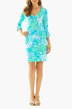 """Newsflash - the Palmetto printed v-neck dress is going to be your new favorite. This long sleeve henley dress can be worn on its own for a warm day of shopping or layered with a sweater and boots for a cool spring evening.  Measures: 20"""" natural waist to hem  Palmetto V-Neck Dress by Lilly Pulitzer. Clothing - Dresses - Printed Sandestin Golf and Beach Resort Florida"""