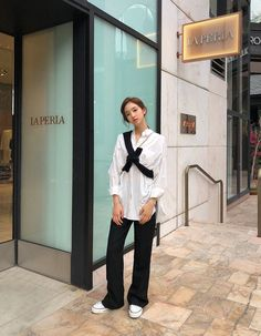 Cloudy Mind Round Knit Top - I know you wanna kiss me. Thank you for visiting CHUU. Korean Fashion Minimal, Korean Street Fashion, Asian Fashion, Hijab Fashion, Fashion Outfits, Fall Outfits, Casual Outfits, Cute Outfits, Classy Street Style