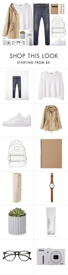"""""""Winter Essentials"""" by alexandra-provenzano ❤ liked on Polyvore featuring R13, Acne Studios, NIKE, Marc by Marc Jacobs, Muji, HAY, Jack Spade, CASSETTE, NARS Cosmetics and INDIE HAIR"""