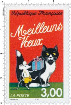 France 1997 cat and mouse postage stamp Art Postal, Postage Stamp Art, Photo Chat, Love Stamps, My Stamp, Stamp Collecting, Mail Art, Illustrations, Cats