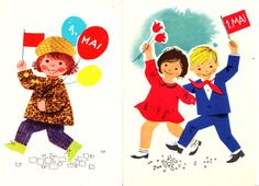 1st of May - Blank vintage Soviet propaganda Postcard - Labour Day - May Day - Soviet times - 60s - artist Lilian Härm  I sell 2 postcards together