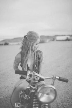 Chicks on bikes. Jenny is gonna wear that top. Ha