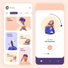 gui design Mobile App - Mindfulness by Outcrowd Ui Design Mobile, App Ui Design, Interface Design, User Interface, Flat Design, Design Design, Design Trends, Cover Design, Design Thinking