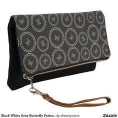 Black White Grey Butterfly Pattern Clutch