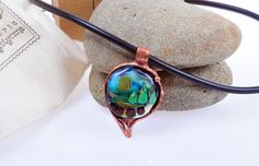 Items similar to Copper and glass neklace with landscape on Etsy Turquoise Bracelet, Arts And Crafts, Copper, Clay, Landscape, Pendant, Metal, Silver, Handmade