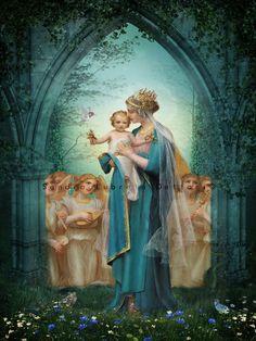 Virgin Mary & Jesus Catholic Art Religious Art by ThreeArchangels