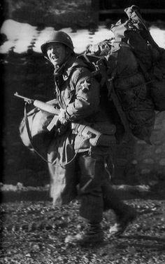 Korean War Military Units - Netherlands, a Dutch soldier arriving with all his equipment