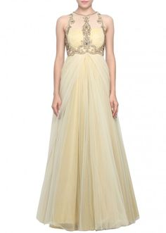 Gold gown featuring in stone embroidery only on Kalki